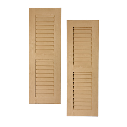 Fypon urethane timber louvered shutters with center rail for Fypon wood beams